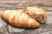 picture of croissant  - Croissants on the wooden table - JPG