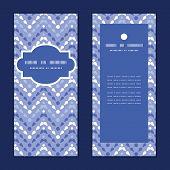 Vector purple drops chevron vertical frame pattern invitation greeting cards set
