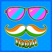 illustration of Indian kitsch style mustache and glasses