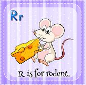 Illustration of a letter r is for rodent