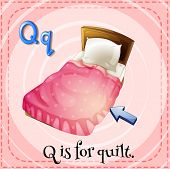 Illustration of a letter q is for quilt