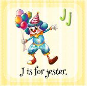 Illustration of an alphabet j is for jester