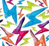Watercolor Lightning Bolt Seamless Pattern