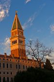 Sunset in Venice, Campanila bell tower at piazza San Marco