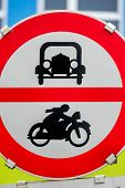 prohibition sign for car and motorcycle, symbol of transport policy, noise abatement, climate protection