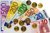 euro banknotes are adjacent. symbolic photo for earnings, sales and money