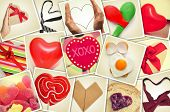 a collage of different snapshots of hearts and heart-shaped things shot by myself, simulating a wall of snapshots uploaded to social networking services