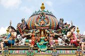 stock photo of hindu temple  - Detail of colorful Sri Mariamman temple - JPG