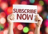 Subscribe Now card with colorful background with defocused lights