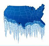 picture of freeze  - American deep freeze and freezing cold temperature in the United States concept as a blue map of America with frozen ice and icicles - JPG