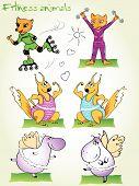 animal athletes doing fitness exercises