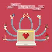 Many-hands laptop. Valentine card