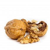 foto of walnut  - Walnut and a cracked walnuts isolated on the white background - JPG