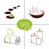 stock photo of ayurveda  - Set of icons and emblems for SPA and ayurveda therapy - JPG