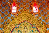 traditional Thai style art painting on wall  in temple ,Thailand