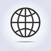 Globe simple icon gray colors