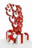 White boxes with red ribbons and decorative hearts isolated on white background