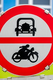 picture of noise pollution  - prohibition sign for car and motorcycle - JPG