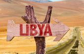 pic of libya  - Libya wooden sign with desert road background - JPG