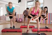 picture of step aerobics  - Horizontal view of training on the step - JPG