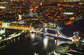picture of london night  - Aerial overview of London city with the Tower bridge at the night time - JPG