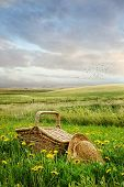picture of tall grass  - Picnic basket and hat in the tall grass - JPG