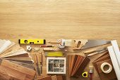 foto of workbench  - DIY workbench top view with carpentry and construction tools copy space at top - JPG