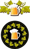 stock photo of beer mug  - beer mug and a wreath of hops for the label - JPG