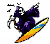 stock photo of grim-reaper  - Grim reaper on surf board - JPG