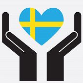 picture of sweden flag  - Hand showing Sweden Flag - JPG