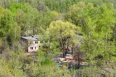 picture of house woods  - kindergarten in green woods in sunny spring day - JPG
