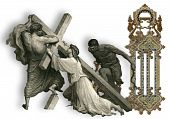 image of crucifiction  - Victorian letter J with Jesus Christ enfeebled by the weight of the cross - JPG