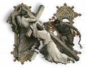 picture of crucifiction  - Victorian letter N with Jesus Christ enfeebled by the weight of the cross - JPG
