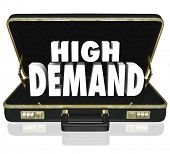 picture of desire  - High Demand word in white 3d letters in a black leather briefcase as a sales presentation or proposal for popular - JPG