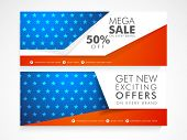stock photo of nationalism  - National flag colors Sale website header or banner set for American Independence Day celebration - JPG