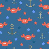 stock photo of blue crab  - Sea crabs stars seamless pattern on blue background - JPG