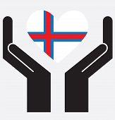 image of faro  - Hand showing Faroe islands flag in a heart shape - JPG