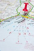 picture of genova  - Red push pin pointing at Genova Italy map - JPG