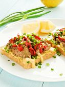 foto of liver fry  - Toasts with mustard sauce liver and stir - JPG