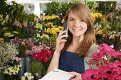 picture of over counter  - Florist In Shop Taking Order Over The Phone In Shop - JPG