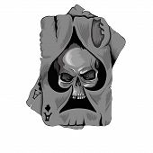 picture of ace spades  - Poker card old ace of spades with skull isolated on white background - JPG