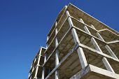 image of slab  - Reinforced concrete slabs of a residential building under construction - JPG