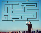 image of maze  - Maze Strategy Success Solution Determination Direction Concept - JPG
