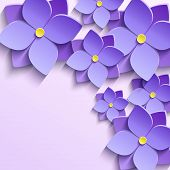 stock photo of life event  - Floral trendy creative background with stylized purple summer 3d flowers violets - JPG