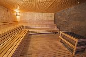 picture of health center  - Interior detail of a sauna in luxury health spa beauty center - JPG