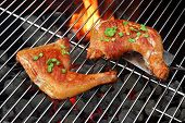 foto of roast chicken  - Barbecue Roast And Smoked Chicken Quarters On The Hot Charcoal Grill Background - JPG