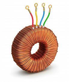 stock photo of rectifier  - Toroidal transformer on white background  - JPG