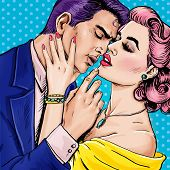 Постер, плакат: Love couple Pop Art Couple Pop Art love Valentines day postcard Hollywood movie scene