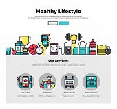 Постер, плакат: Healthy Lifestyle Flat Line Web Graphics