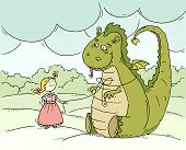 Постер, плакат: Cartoon Little Princess With Big Dragon